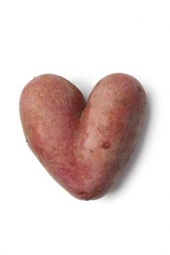 Heart shaped Roseval potato on white background